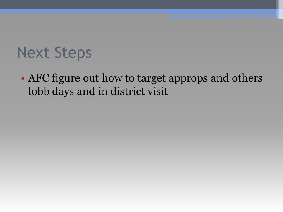 AFC figure out how to target approps and others lobb days and in district visit