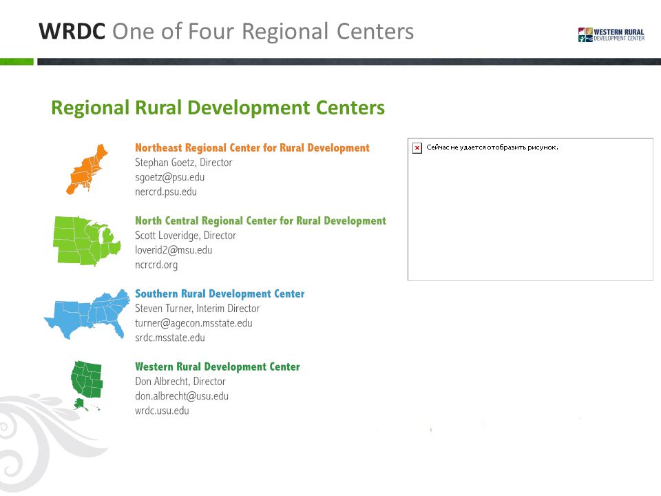 WRDC One of Four Regional Centers Regional Rural Development Centers