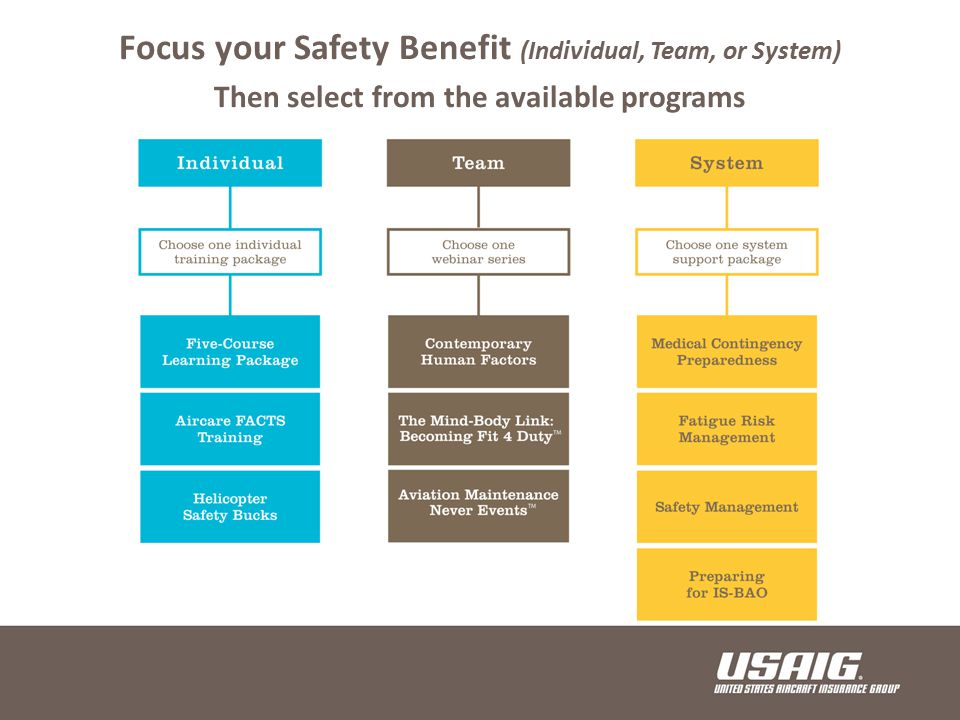 Focus your Safety Benefit (Individual, Team, or System) Then select from the available programs