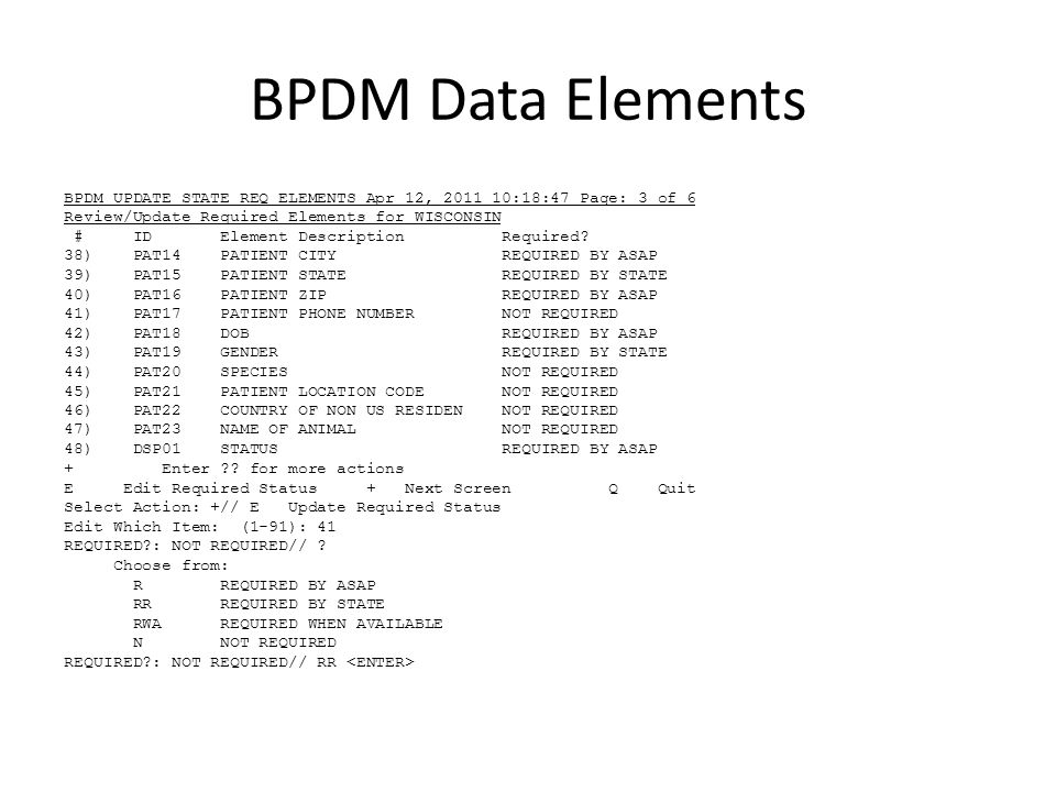 BPDM Data Elements BPDM UPDATE STATE REQ ELEMENTS Apr 12, 2011 10:18:47 Page: 3 of 6 Review/Update Required Elements for WISCONSIN # ID Element Descri
