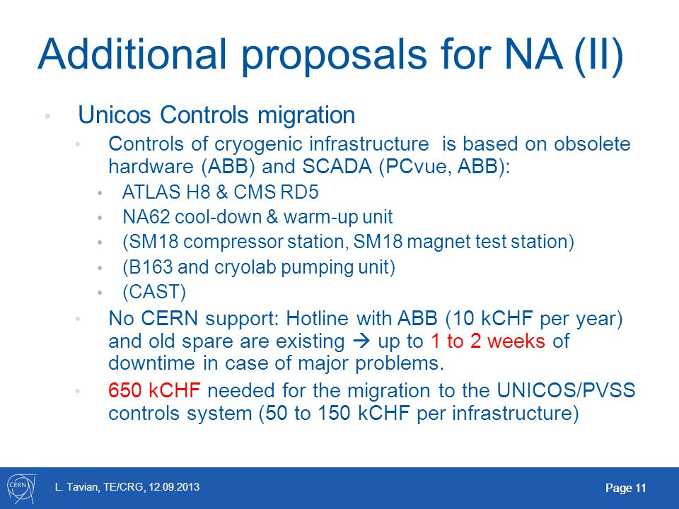 L. Tavian, TE/CRG, 12.09.2013 Page 11 Additional proposals for NA (II) Unicos Controls migration Controls of cryogenic infrastructure is based on obso