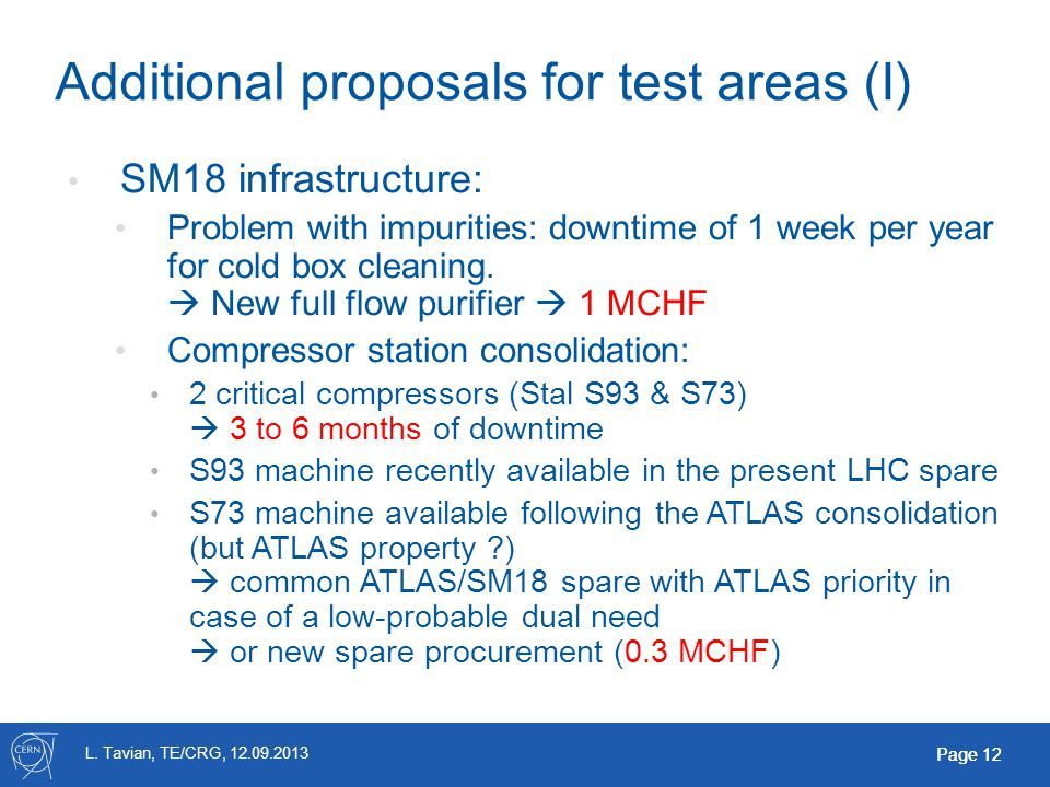 L. Tavian, TE/CRG, 12.09.2013 Page 12 Additional proposals for test areas (I) SM18 infrastructure: Problem with impurities: downtime of 1 week per yea