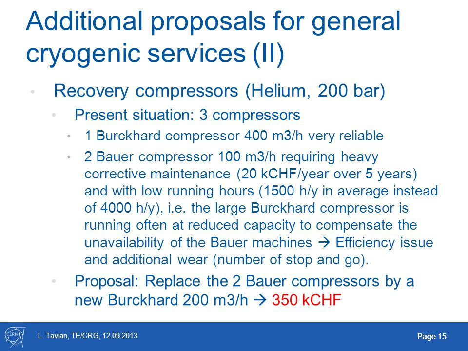 L. Tavian, TE/CRG, 12.09.2013 Page 15 Additional proposals for general cryogenic services (II) Recovery compressors (Helium, 200 bar) Present situatio