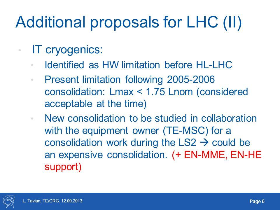 L. Tavian, TE/CRG, 12.09.2013 Page 6 Additional proposals for LHC (II) IT cryogenics: Identified as HW limitation before HL-LHC Present limitation fol