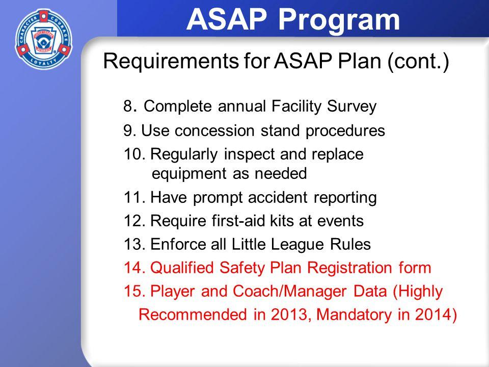 ASAP Program 8. Complete annual Facility Survey 9.