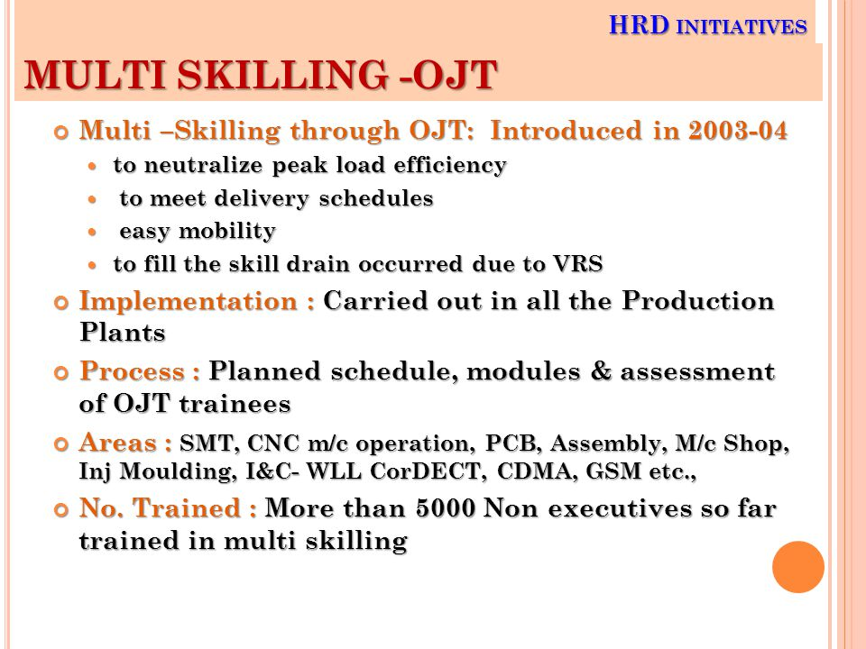 Multi –Skilling through OJT: Introduced in 2003-04 to neutralize peak load efficiency to neutralize peak load efficiency to meet delivery schedules to meet delivery schedules easy mobility easy mobility to fill the skill drain occurred due to VRS to fill the skill drain occurred due to VRS Implementation : Carried out in all the Production Plants Process : Planned schedule, modules & assessment of OJT trainees Areas : SMT, CNC m/c operation, PCB, Assembly, M/c Shop, Inj Moulding, I&C- WLL CorDECT, CDMA, GSM etc., No.