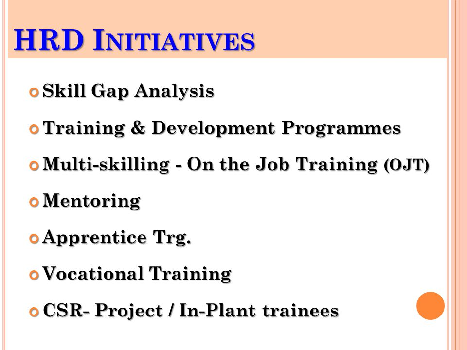 HRD I NITIATIVES Skill Gap Analysis Training & Development Programmes Multi-skilling - On the Job Training (OJT) Mentoring Apprentice Trg.
