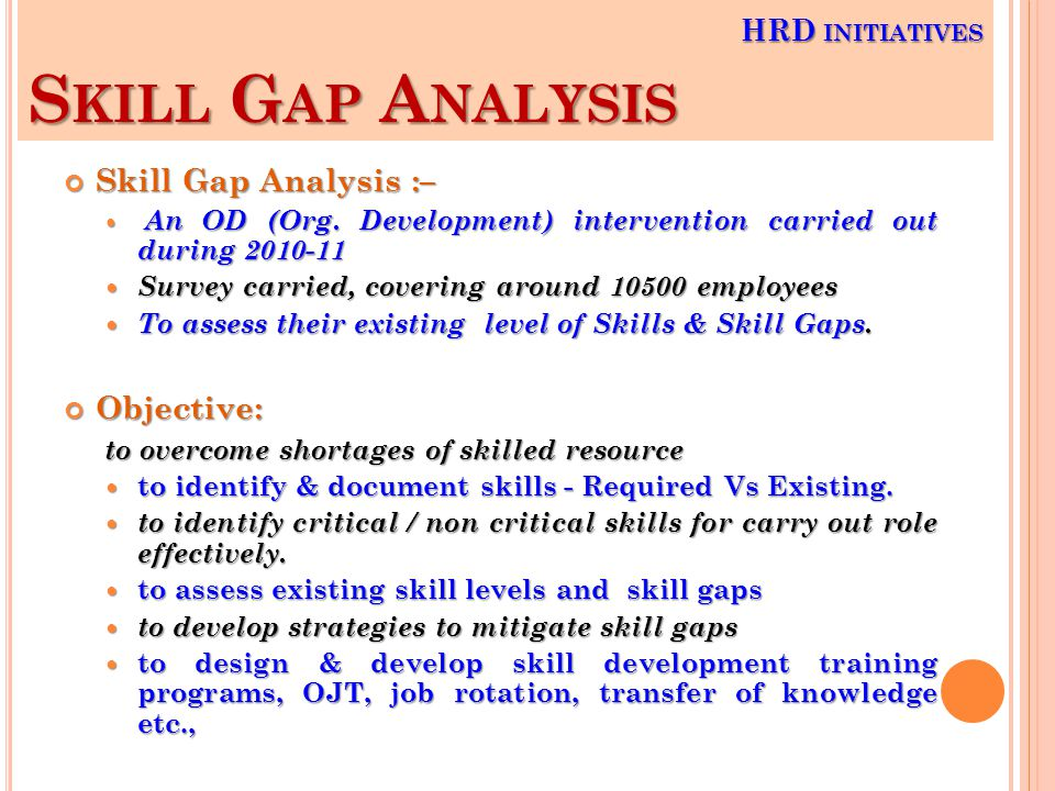 S KILL G AP A NALYSIS Skill Gap Analysis :– An OD (Org.