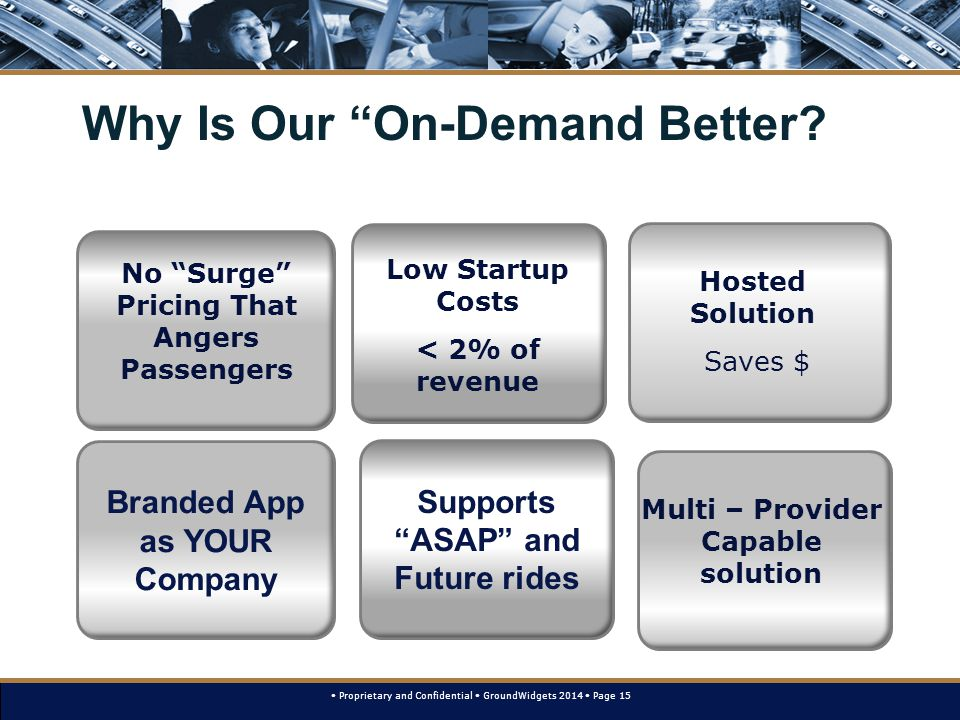 Proprietary and Confidential GroundWidgets 2014 Page 15 Why Is Our On-Demand Better.