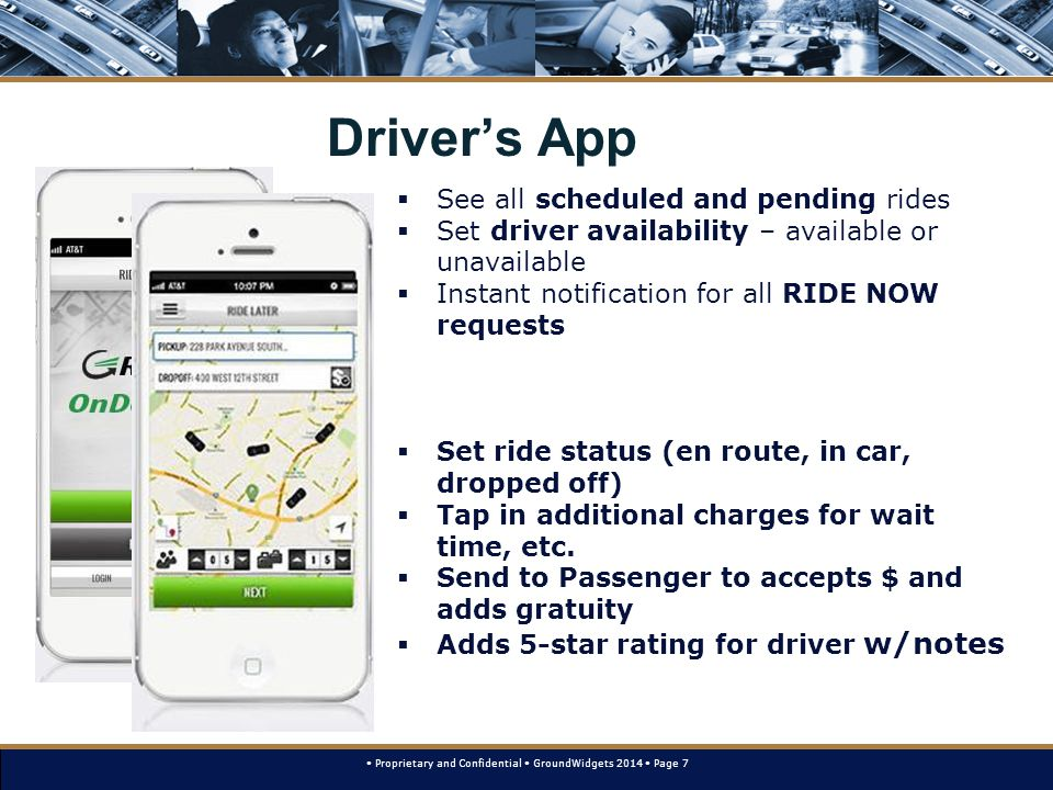 Proprietary and Confidential GroundWidgets 2014 Page 7 Driver's App  See all scheduled and pending rides  Set driver availability – available or unavailable  Instant notification for all RIDE NOW requests  Set ride status (en route, in car, dropped off)  Tap in additional charges for wait time, etc.