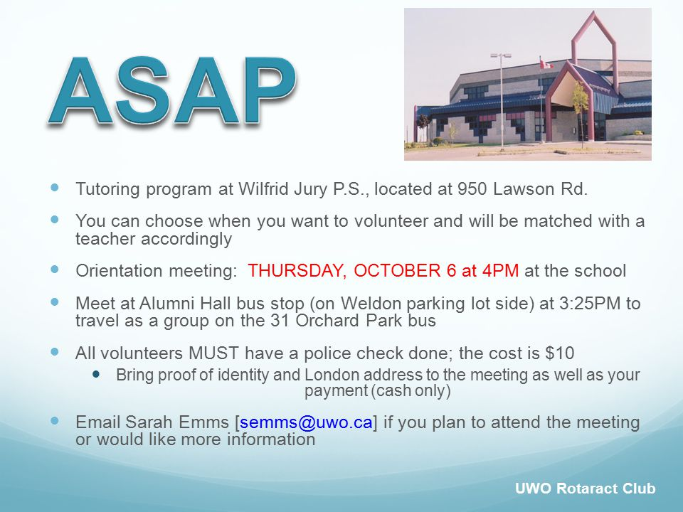 Tutoring program at Wilfrid Jury P.S., located at 950 Lawson Rd.
