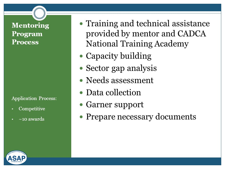 Mentoring Program Process Application Process: Competitive ~10 awards Training and technical assistance provided by mentor and CADCA National Training