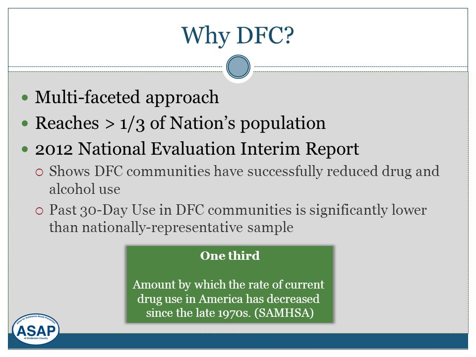 Why DFC? Multi-faceted approach Reaches > 1/3 of Nation's population 2012 National Evaluation Interim Report  Shows DFC communities have successfully