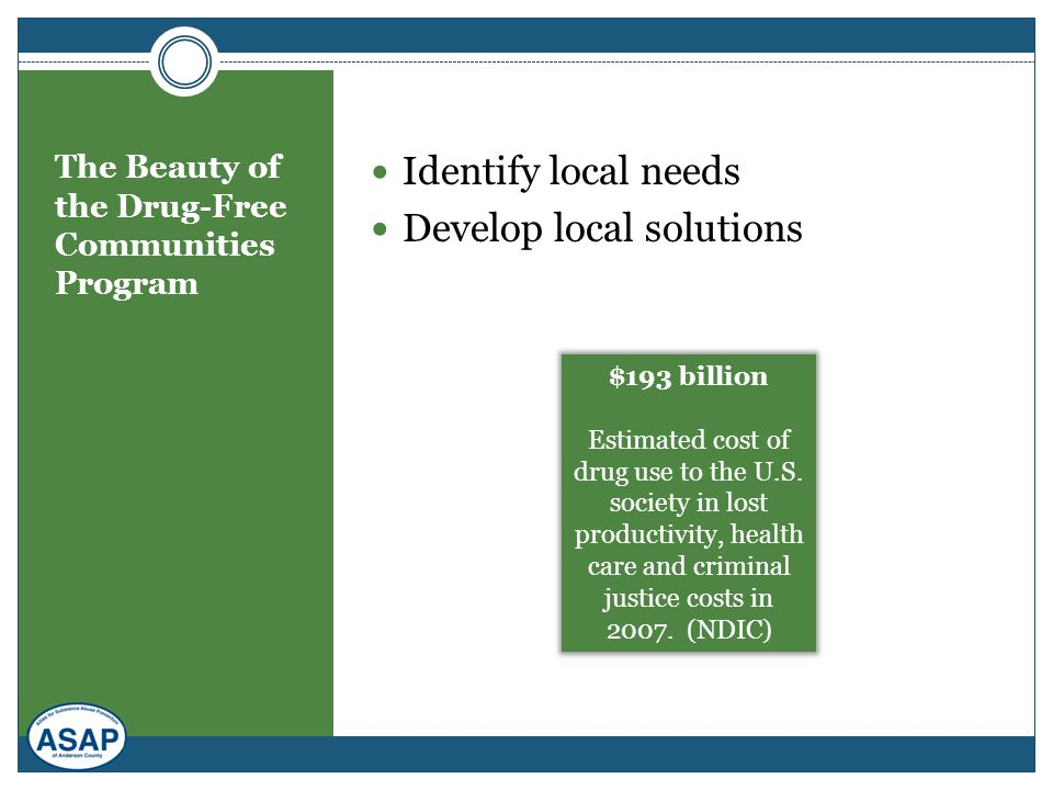 The Beauty of the Drug-Free Communities Program Identify local needs Develop local solutions $193 billion Estimated cost of drug use to the U.S. socie