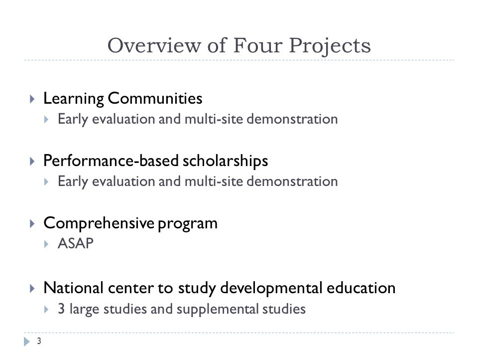 Overview of Four Projects  Learning Communities  Early evaluation and multi-site demonstration  Performance-based scholarships  Early evaluation and multi-site demonstration  Comprehensive program  ASAP  National center to study developmental education  3 large studies and supplemental studies 3