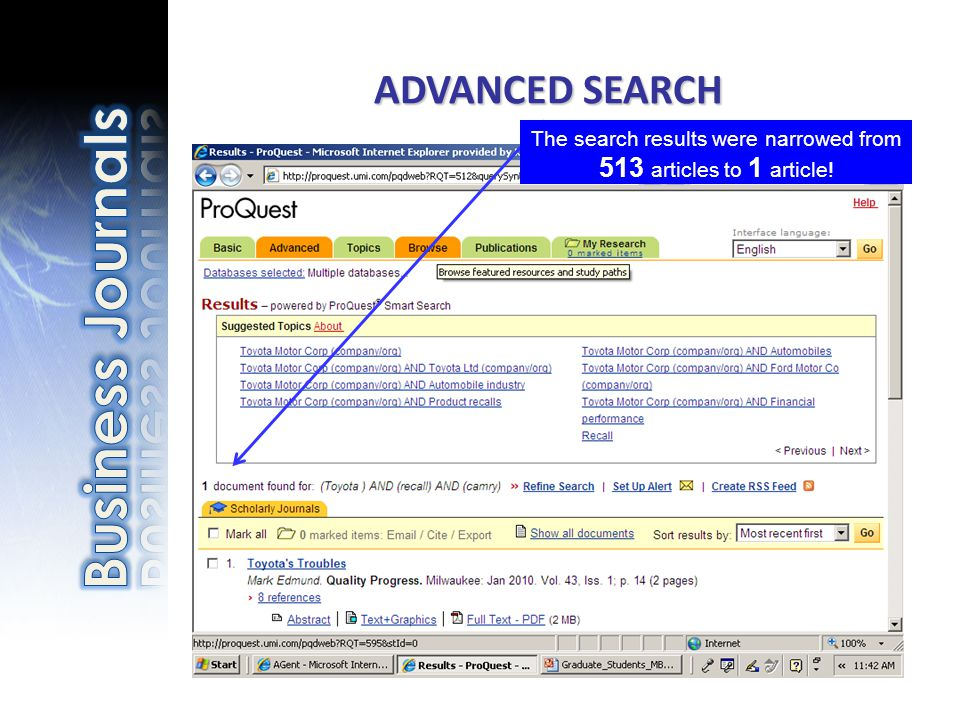 ADVANCED SEARCH The search results were narrowed from 513 articles to 1 article!