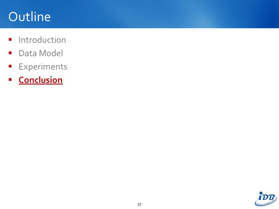 Outline  Introduction  Data Model  Experiments  Conclusion 37