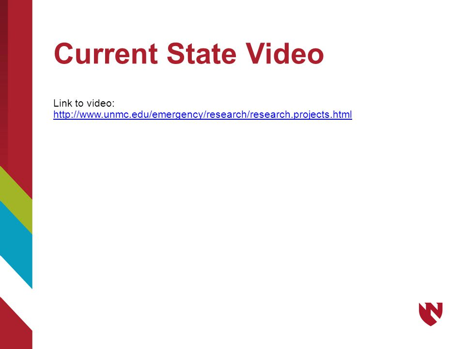 Current State Video Link to video: http://www.unmc.edu/emergency/research/research.projects.html http://www.unmc.edu/emergency/research/research.projects.html