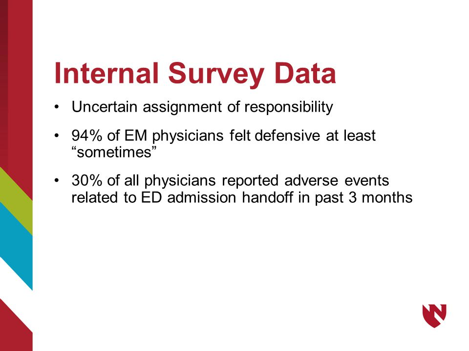 "Internal Survey Data Uncertain assignment of responsibility 94% of EM physicians felt defensive at least ""sometimes"" 30% of all physicians reported ad"