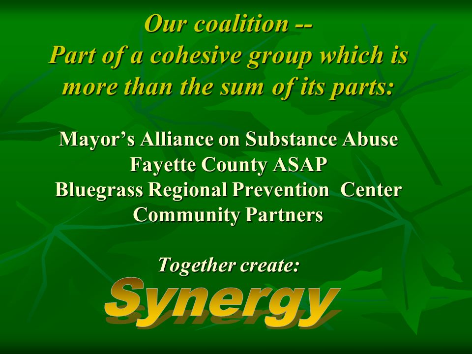 Our coalition -- Part of a cohesive group which is more than the sum of its parts: Mayor's Alliance on Substance Abuse Fayette County ASAP Bluegrass Regional Prevention Center Community Partners Together create: