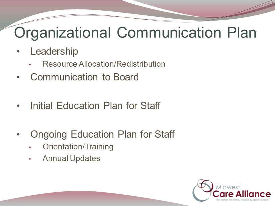 Organizational Communication Plan Leadership Resource Allocation/Redistribution Communication to Board Initial Education Plan for Staff Ongoing Education Plan for Staff Orientation/Training Annual Updates