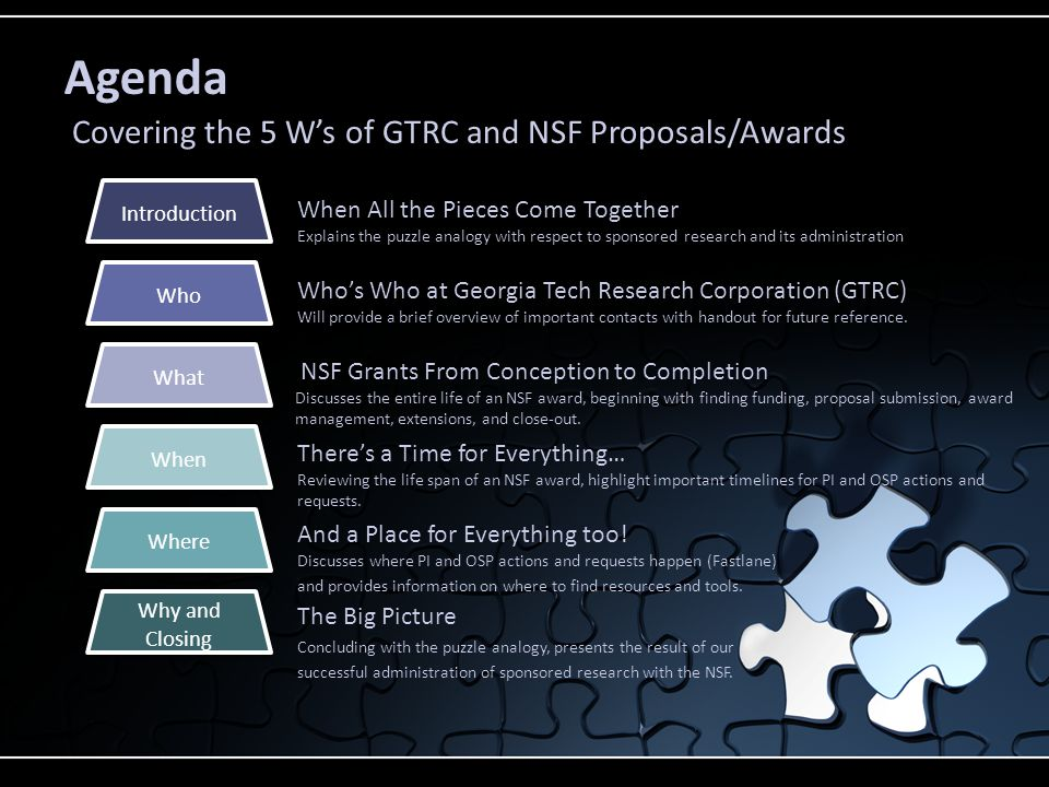 Agenda Covering the 5 W's of GTRC and NSF Proposals/Awards When All the Pieces Come Together Explains the puzzle analogy with respect to sponsored research and its administration Who's Who at Georgia Tech Research Corporation (GTRC) Will provide a brief overview of important contacts with handout for future reference.