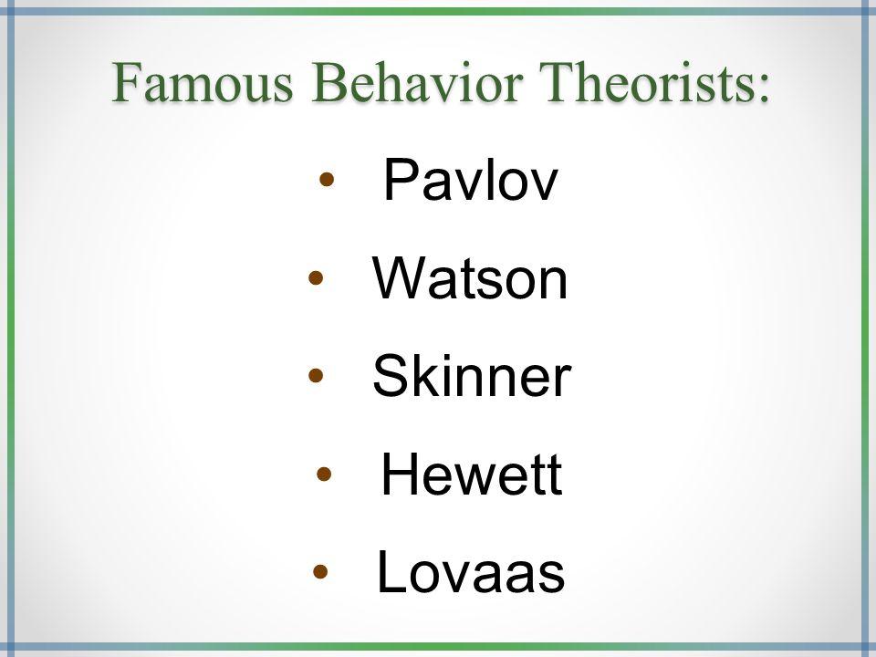 Famous Behavior Theorists: Pavlov Watson Skinner Hewett Lovaas