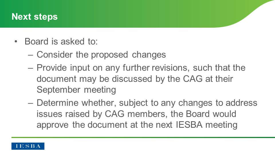 Board is asked to: –Consider the proposed changes –Provide input on any further revisions, such that the document may be discussed by the CAG at their September meeting –Determine whether, subject to any changes to address issues raised by CAG members, the Board would approve the document at the next IESBA meeting Next steps