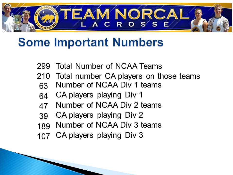 299 210 63 64 47 39 189 107 Total Number of NCAA Teams Total number CA players on those teams Number of NCAA Div 1 teams CA players playing Div 1 Number of NCAA Div 2 teams CA players playing Div 2 Number of NCAA Div 3 teams CA players playing Div 3