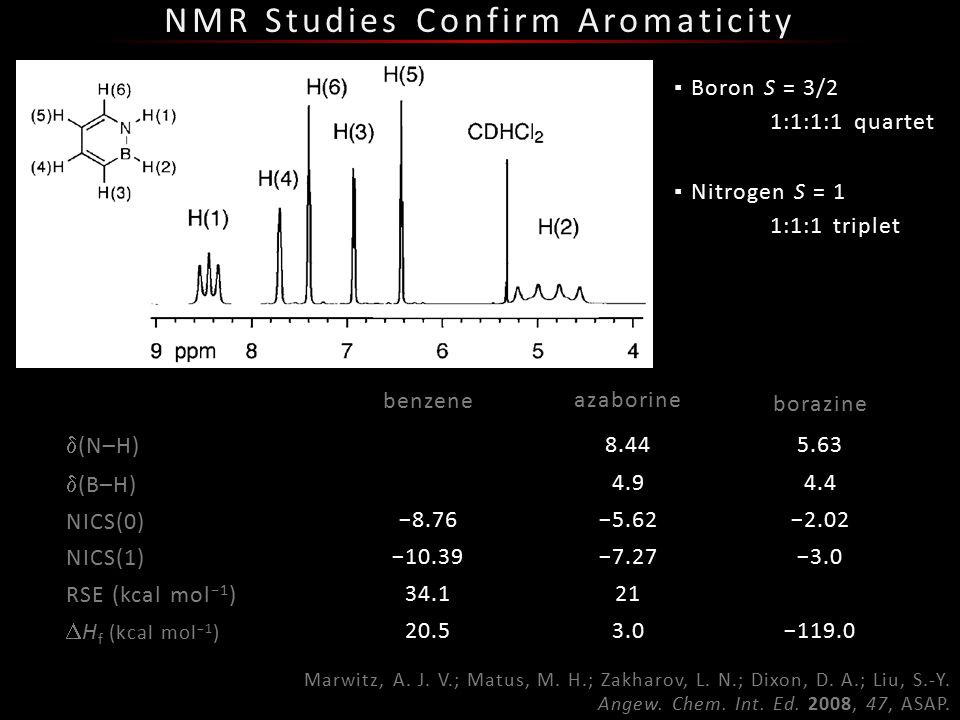 NMR Studies Confirm Aromaticity Marwitz, A. J. V.; Matus, M.