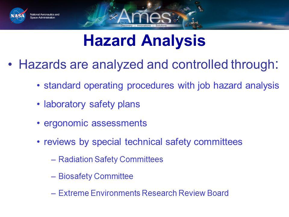 Hazard Analysis Hazards are analyzed and controlled through : standard operating procedures with job hazard analysis laboratory safety plans ergonomic