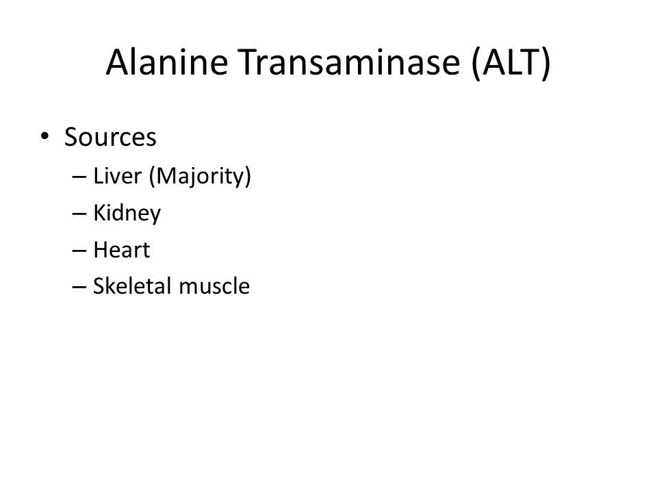 Alanine Transaminase (ALT) Sources – Liver (Majority) – Kidney – Heart – Skeletal muscle