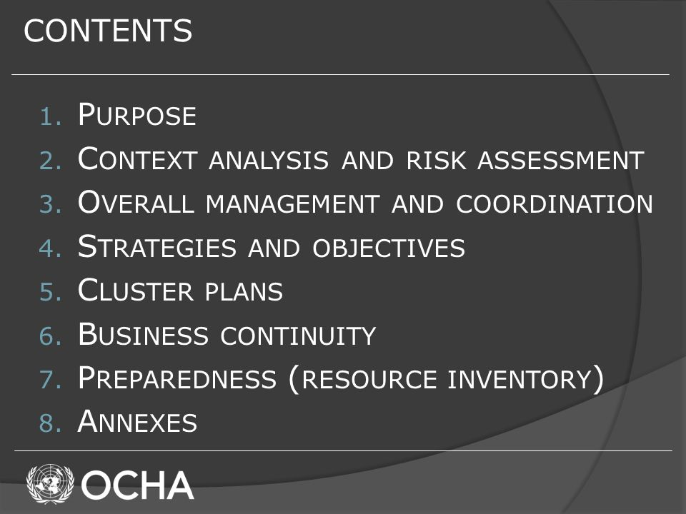 CONTENTS 1. P URPOSE 2. C ONTEXT ANALYSIS AND RISK ASSESSMENT 3.