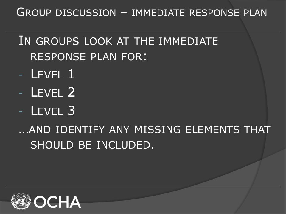 G ROUP DISCUSSION – IMMEDIATE RESPONSE PLAN I N GROUPS LOOK AT THE IMMEDIATE RESPONSE PLAN FOR : - L EVEL 1 - L EVEL 2 - L EVEL 3 … AND IDENTIFY ANY MISSING ELEMENTS THAT SHOULD BE INCLUDED.
