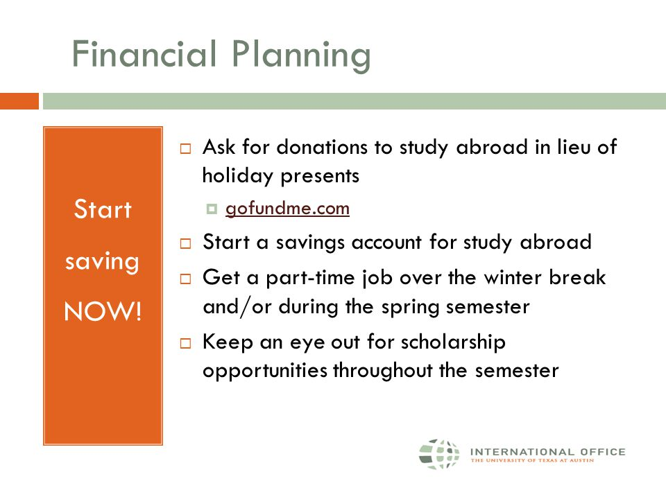 Financial Planning Start saving NOW.