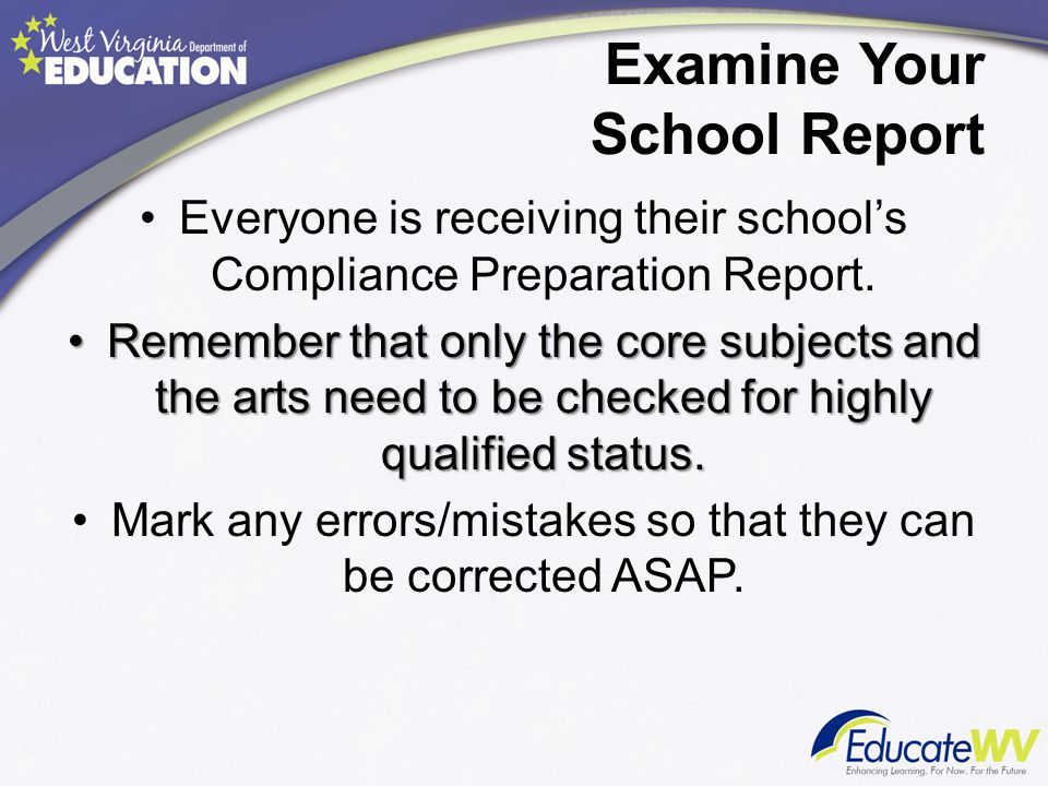 Examine Your School Report Everyone is receiving their school's Compliance Preparation Report.