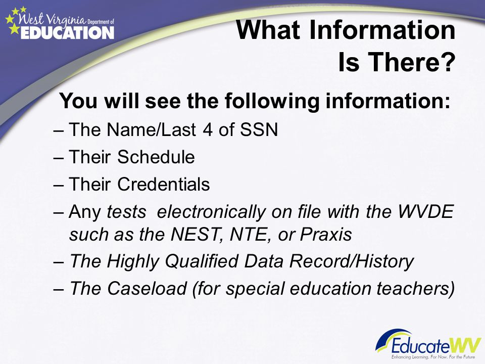 What Information Is There? You will see the following information: –The Name/Last 4 of SSN –Their Schedule –Their Credentials –Any tests electronicall