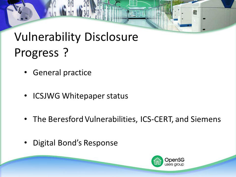 Vulnerability Disclosure Progress .