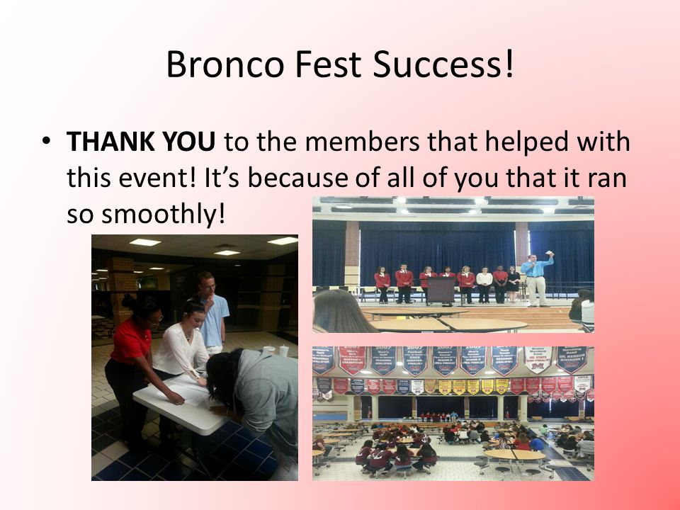 Bronco Fest Success. THANK YOU to the members that helped with this event.