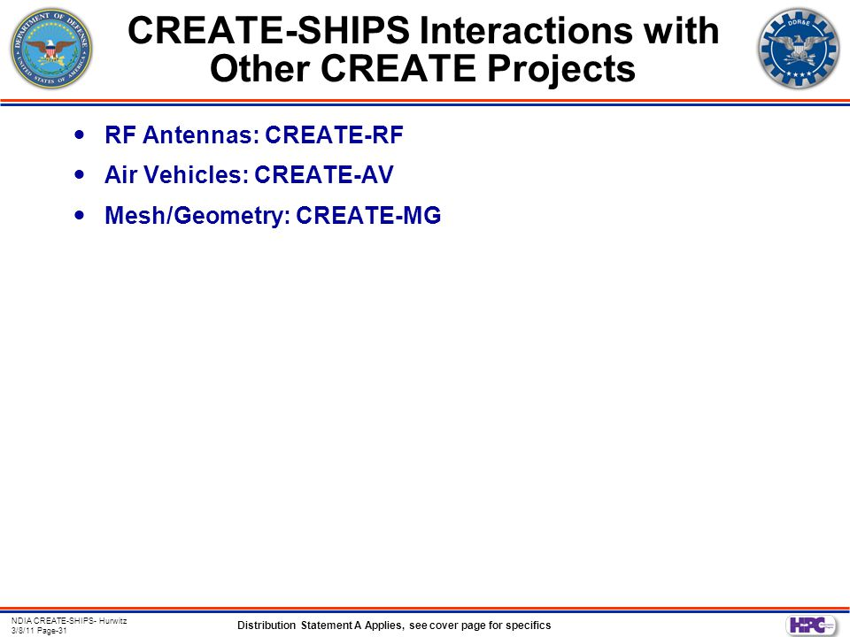 Distribution Statement A Applies, see cover page for specifics NDIA CREATE-SHIPS- Hurwitz 3/8/11 Page-31 CREATE-SHIPS Interactions with Other CREATE Projects RF Antennas: CREATE-RF Air Vehicles: CREATE-AV Mesh/Geometry: CREATE-MG