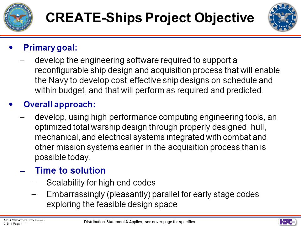 Distribution Statement A Applies, see cover page for specifics NDIA CREATE-SHIPS- Hurwitz 3/8/11 Page-15 CREATE-Ships Objectives for Hydrodynamics Provide the US Navy community with a suite of analysis methods that can be used to impact design and analysis –Existing and evolving semi-empirical methods for fast turnaround needs –Use of existing high-end methods where appropriate, within required timeframes –New CREATE-developed high-fidelity capability with a minimum of empiricism Provide an integrated user design environment for using these different levels of fidelity methods by users in both the design and analysis domains –Simultaneously optimize and evaluate different disciplines (e.g., resistance, powering, maneuvering, seakeeping)