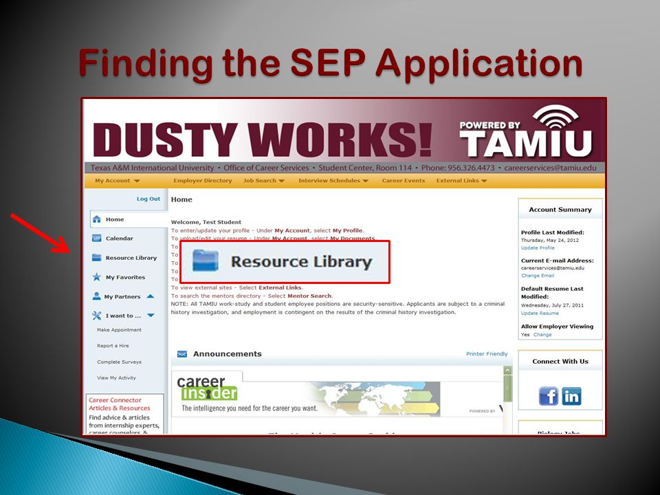Click on Submit Résumé or SEP Application .Your selected SEP will attach itself.