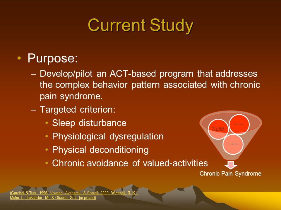 Current Study Purpose: –Develop/pilot an ACT-based program that addresses the complex behavior pattern associated with chronic pain syndrome.
