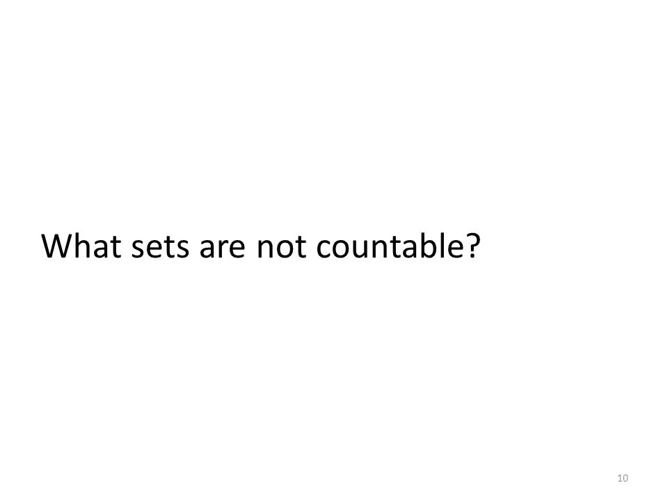 What sets are not countable? 10