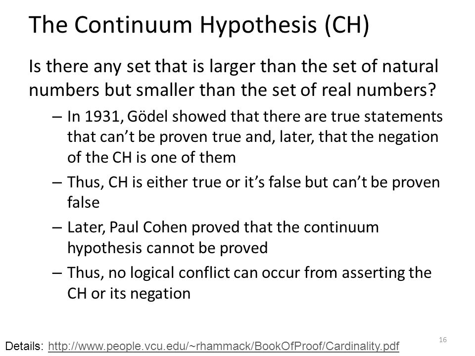 The Continuum Hypothesis (CH) Is there any set that is larger than the set of natural numbers but smaller than the set of real numbers.