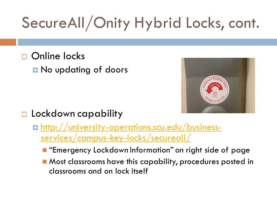 SecureAll/Onity Hybrid Locks, cont.