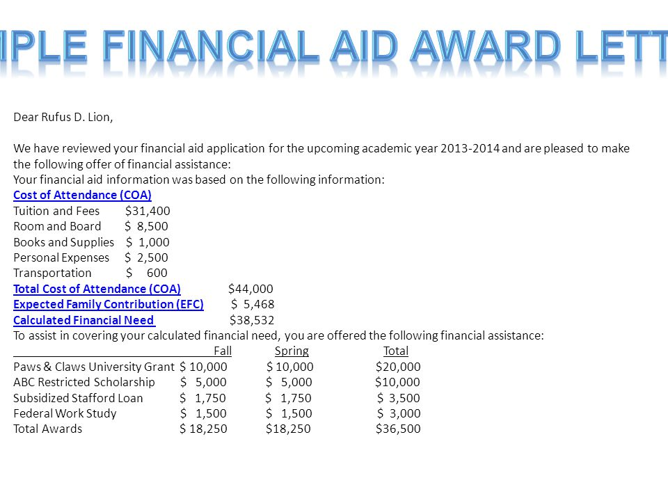 Dear Rufus D. Lion, We have reviewed your financial aid application for the upcoming academic year 2013-2014 and are pleased to make the following off