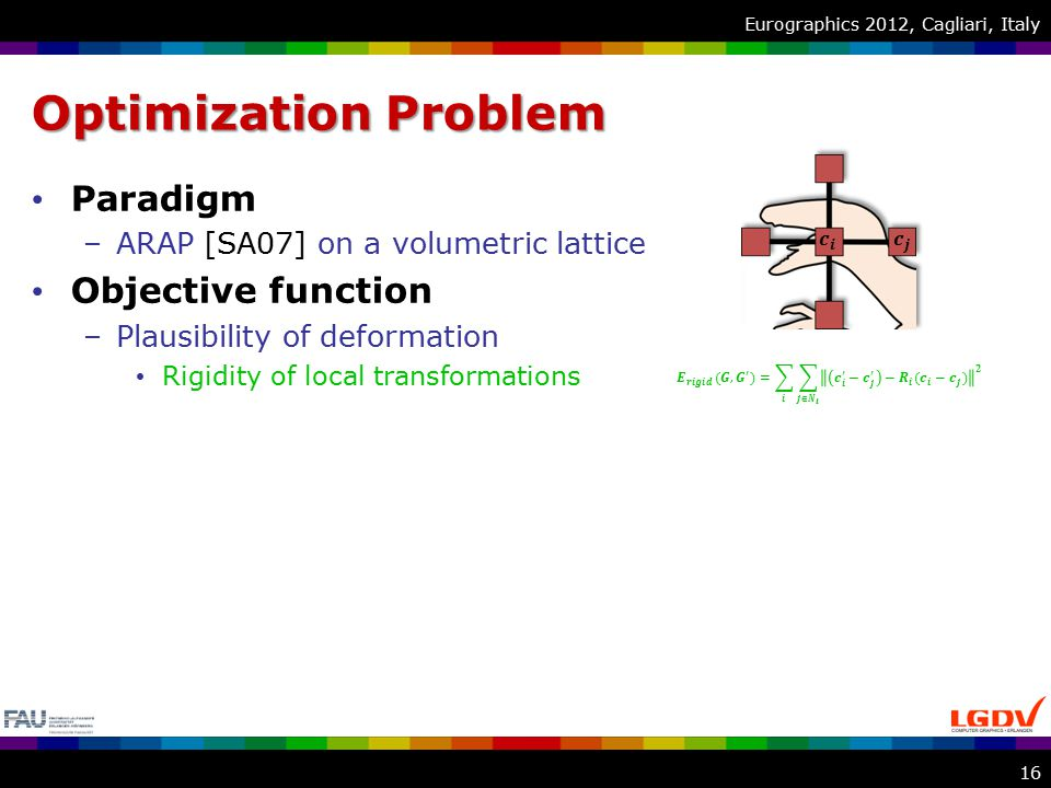 Eurographics 2012, Cagliari, Italy Optimization Problem Paradigm –ARAP [SA07] on a volumetric lattice Objective function –Plausibility of deformation Rigidity of local transformations 16