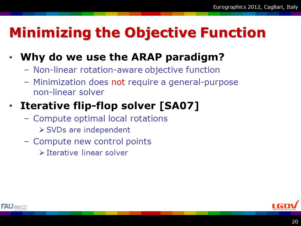 Eurographics 2012, Cagliari, Italy Minimizing the Objective Function Why do we use the ARAP paradigm.
