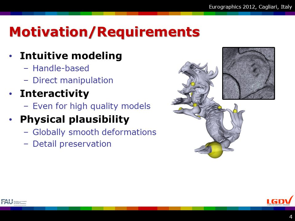 Eurographics 2012, Cagliari, ItalyMotivation/Requirements Intuitive modeling –Handle-based –Direct manipulation Interactivity –Even for high quality models Physical plausibility –Globally smooth deformations –Detail preservation 4